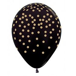 Ballonnen Zwart met Gouden Confetti bedrukking 30 cm €0,50