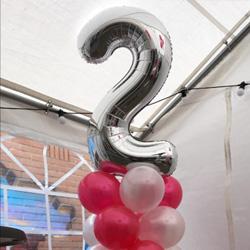 Ballonpilaar 1,5 meter met foliecijfer