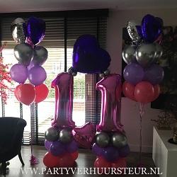 Bouquet 11 jaar Fuchsia-Paars-Zilver