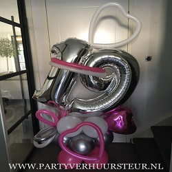 Bouquet 19 jaar Fuchsia-Wit-Zilver Chrome