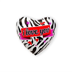 Folieballon Hart I Love You Zebraprint