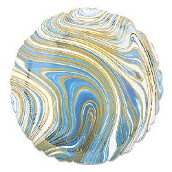 Folieballon Marblez Rond Blauw 43 cm €3,25