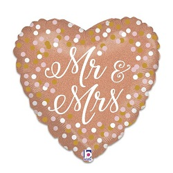 Folieballon Hart Mr & Mrs Roségoud €3,95