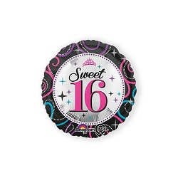Folieballon Sweet 16 rond €3,95