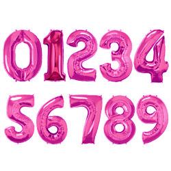 Folie Cijferballonnen Roze cijfers 0 – 9