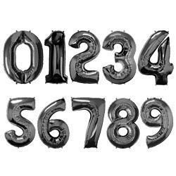 Folie Cijferballonnen Zwart cijfers 0 – 9
