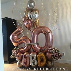 Ballonnen Bouquet 50 HBD Goud/Zilver/Rosegoud
