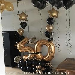 Ballonnen Bouquet 50 Goud & Zwart