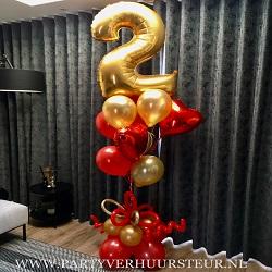 Ballonnen Bouquet Tros Goud & Rood