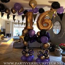 Bouquet Trossen 16 Jaar Goud Reflex / Paars / Zwart